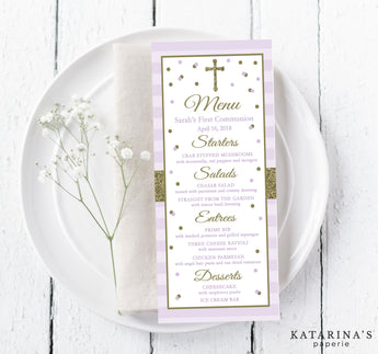 Purple and Gold Sparkle First Communion Menu Cards