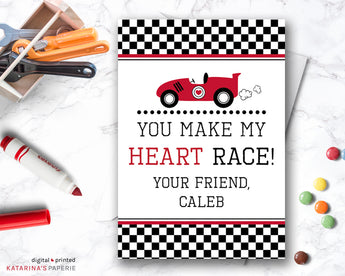 You Make My Heart Race Car Valentine's Day Card
