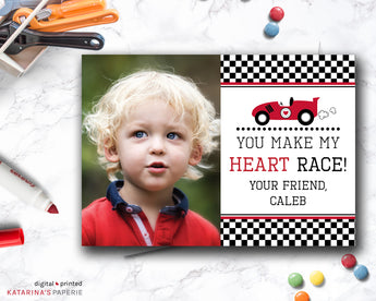 You Make My Heart Race Car Valentine's Day Photo Card