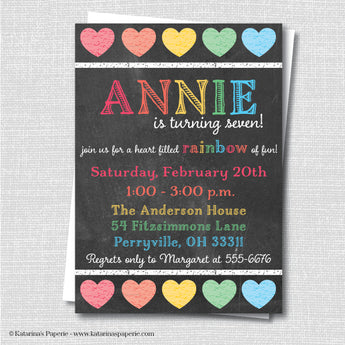 Chalkboard Rainbow Hearts Birthday Invitation