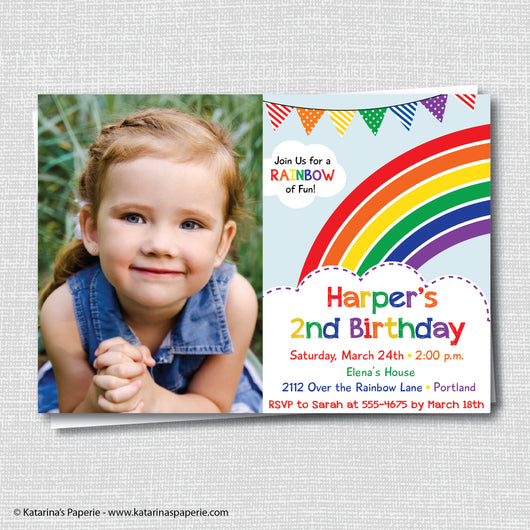 Classic Rainbow Birthday Photo Invitation