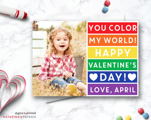 Classic Rainbow Color My World Valentine's Day Photo Card