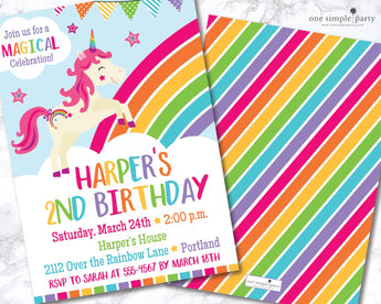 Printable Rainbow Unicorn Birthday Invitation