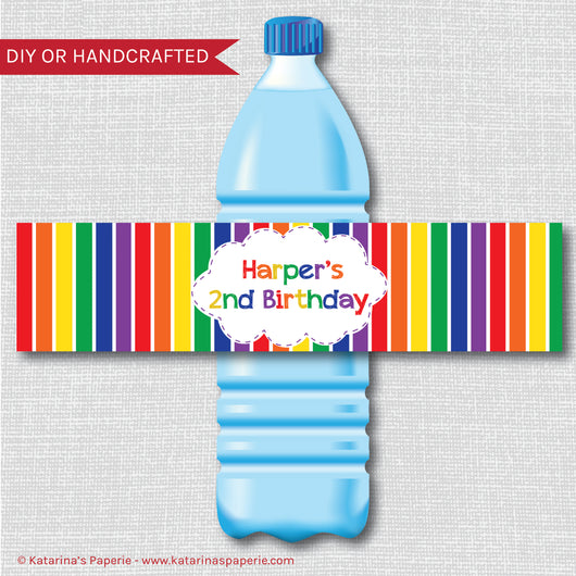 Classic Rainbow Water Bottle Labels