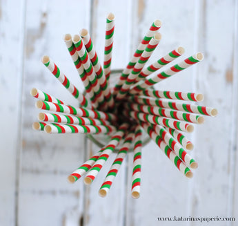 Christmas Stripes Paper Straws
