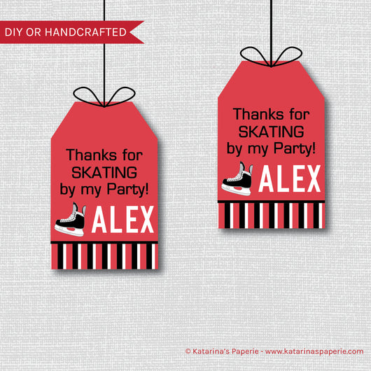 Red Hockey Birthday Favor Tags