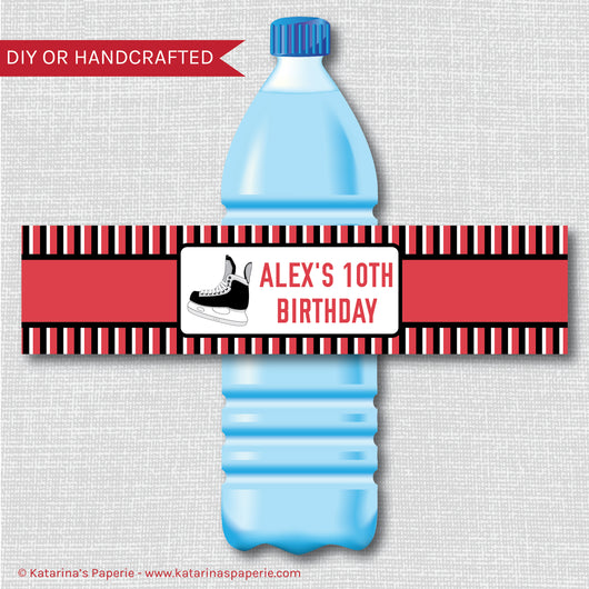 Ice Hockey Water Bottle Labels