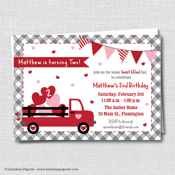 Red Truck Heart Birthday Invitation