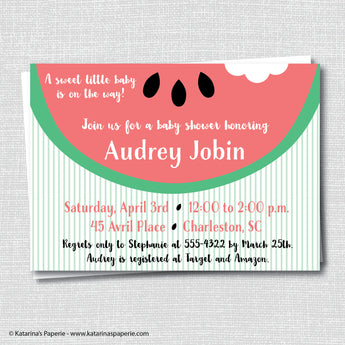 Red Watermelon Baby Shower Invitation