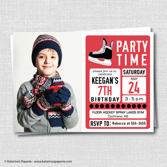 Red Hockey Birthday Photo Invitation