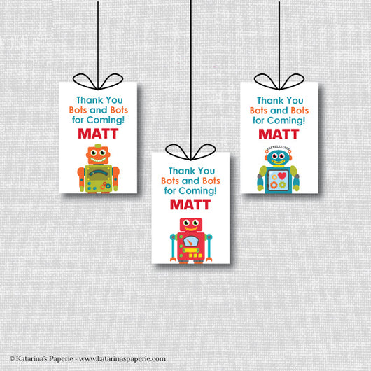 Robot Birthday Favor Tags