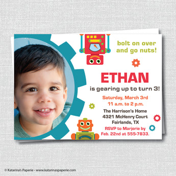 Robot Birthday Photo Invitation