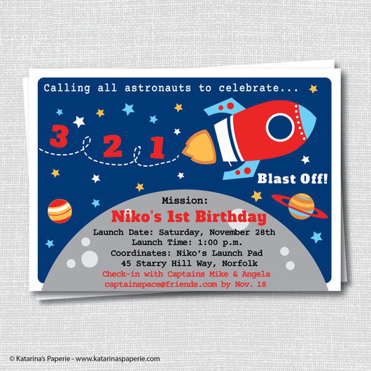 Rocket Ship Birthday Invitation