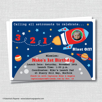 Rocket Ship Birthday Photo Invitation