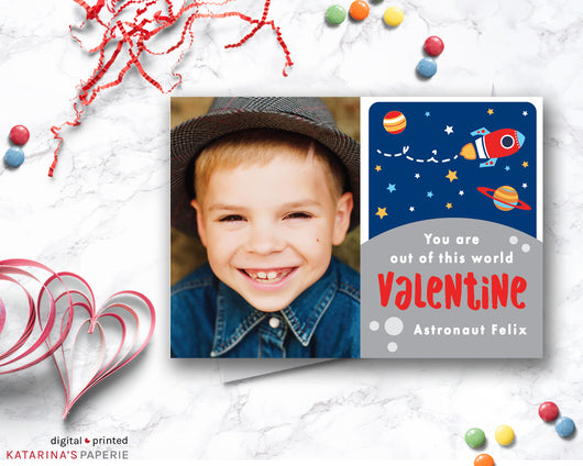 Rocket Ship Valentine's Day Photo Card