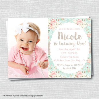 Rustic Pink Bunny Birthday Photo Invitation