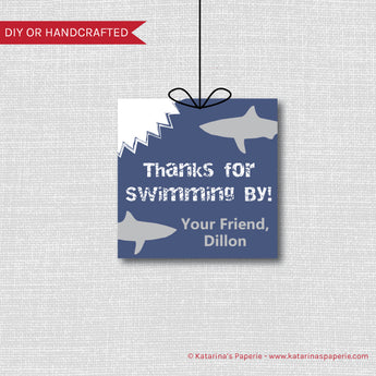 Shark Birthday Favor Tags
