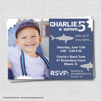 Shark Birthday Photo Invitation