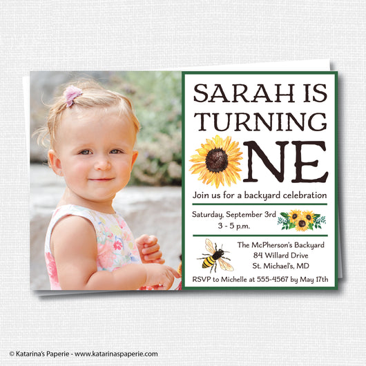 Sunflower Birthday Photo Invitation