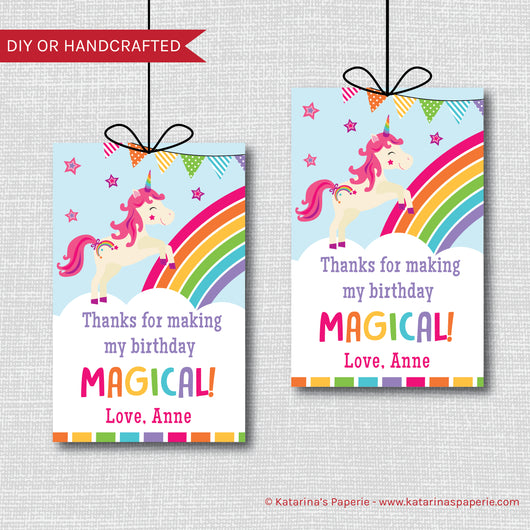 Rainbow Unicorn Birthday Favor Tags