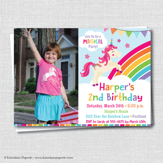 Rainbow Unicorn Birthday Photo Invitation