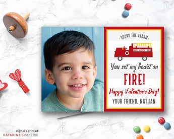 Fire Truck Valentine's Day Photo Card