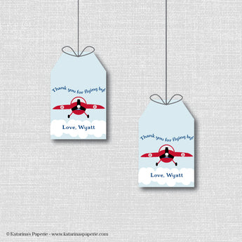 Vintage Airplane Birthday Favor Tags