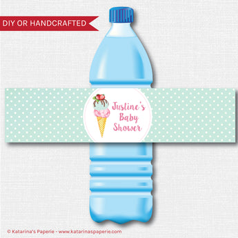 Watercolor Ice Cream Baby Shower Water Bottle Labels