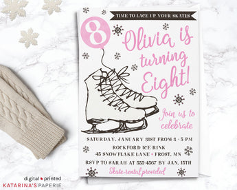 Pink Watercolor Ice Skating Birthday Invitation
