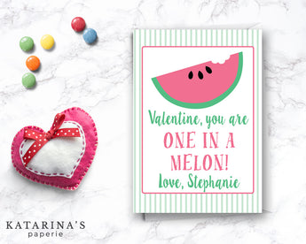 One in a Melon Watermelon Valentine's Day Card