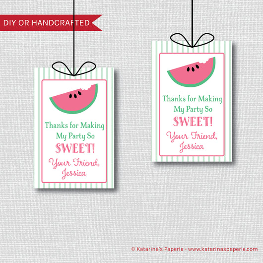 Watermelon Birthday Favor Tags