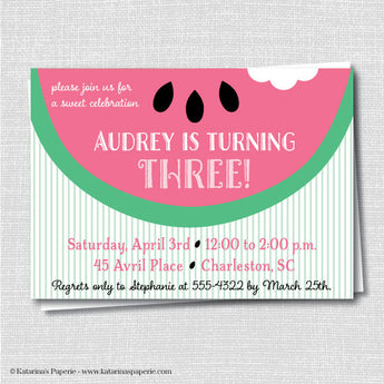 Pink Watermelon Birthday Invitation