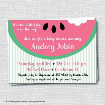 Pink Watermelon Baby Shower Invitation