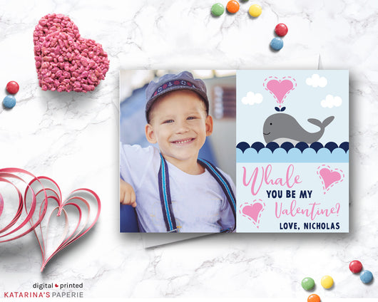 Whale Valentine's Day Photo Card