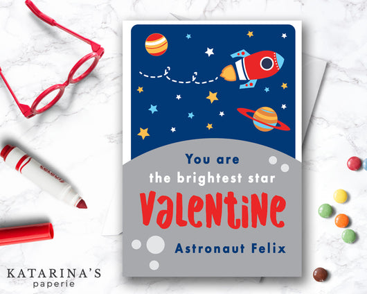 Brightest Star Space Valentine's Day Card