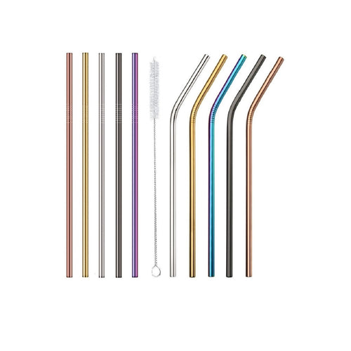 Stainless Steel Straws (set of 4 + Free Cleaning brush)