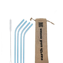 Load image into Gallery viewer, Stainless Steel Straws (set of 4 + Free Cleaning brush) in pouch