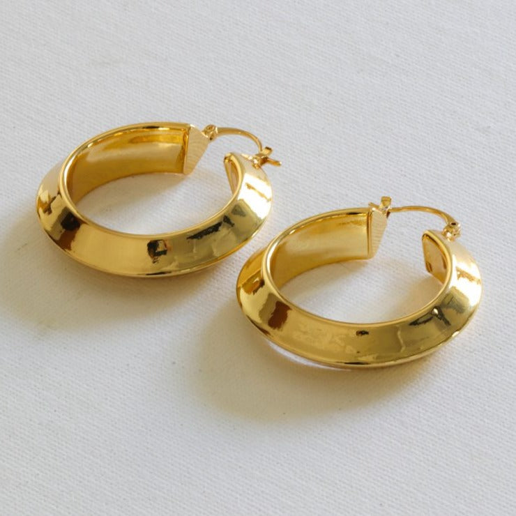 Dacia Gold Plated Brass Hoops - HAYGEN