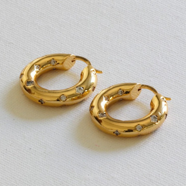 Sacha Plated Brass Encrusted Hoop Earrings - HAYGEN