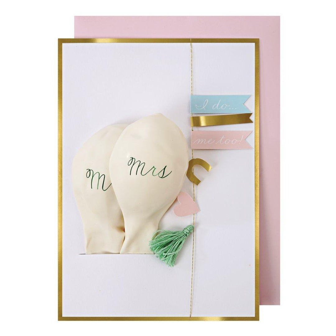 Meri Meri - Wedding Mr & Mrs Balloon Card