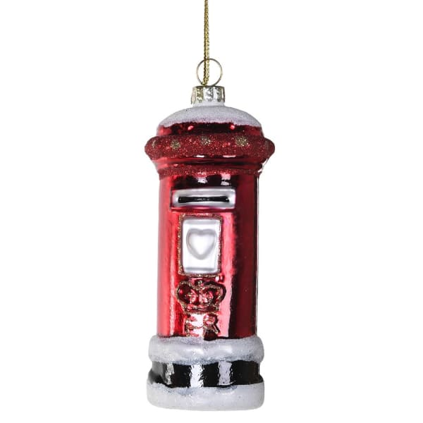 Glass Red Post Box Bauble - HAYGEN