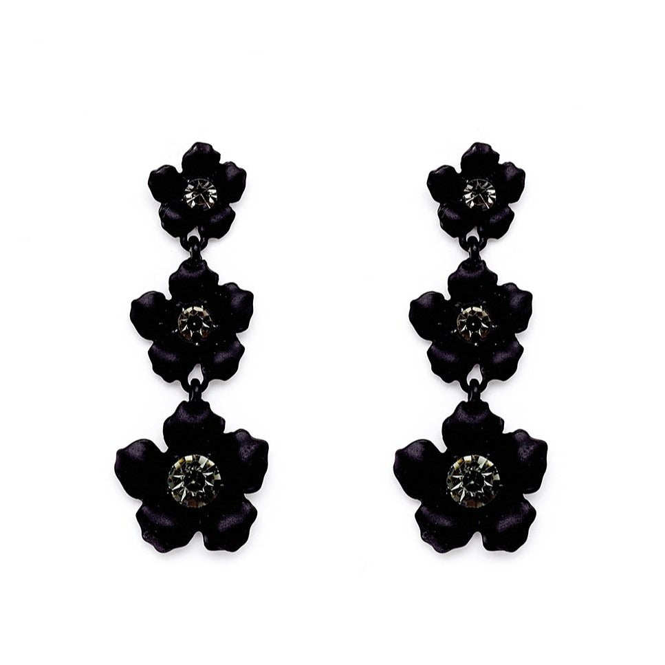 Nali - LONG EARRINGS WITH BLACK FLOWERS AND CRYSTALS - HAYGEN