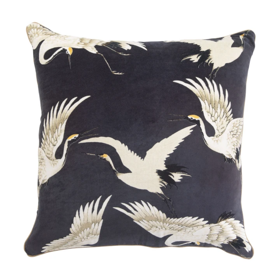 One Hundred Stars - Stork Cushion - Charcoal 50x50cm - HAYGEN