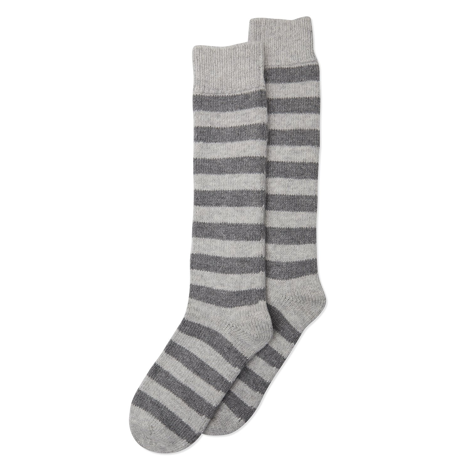 Somerville - Long Cashmere Stripe Sock - Grey - HAYGEN