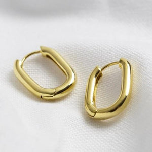 Curved Rectangle Hoop Earring