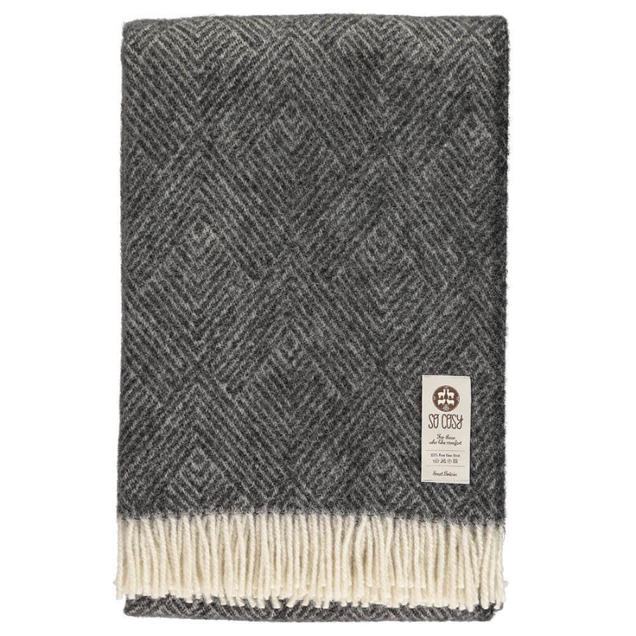 Donell Throw - Charcoal/Cream - HAYGEN