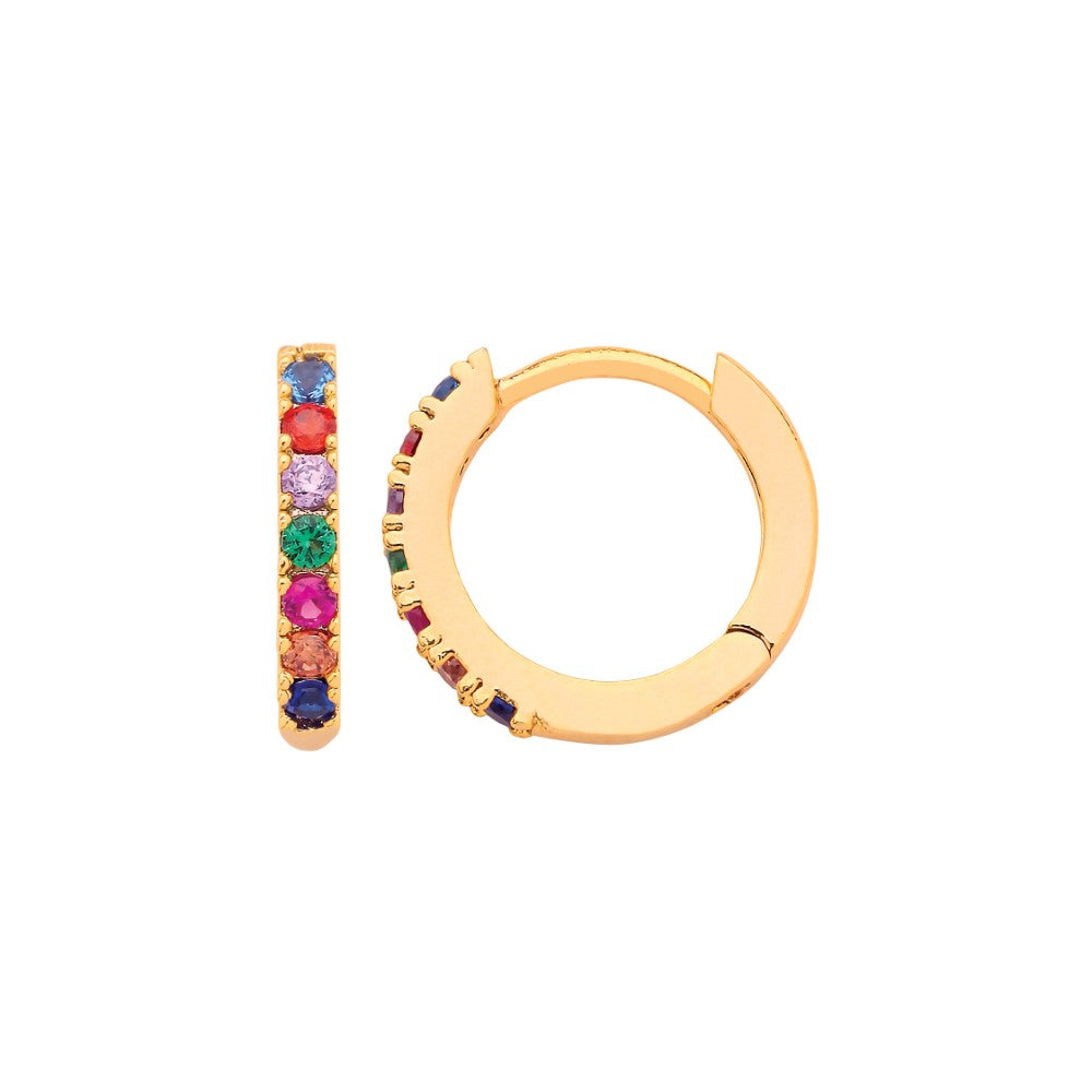 Estella Bartlett - Multicoloured Pave Hoop Gold Plated Earrings