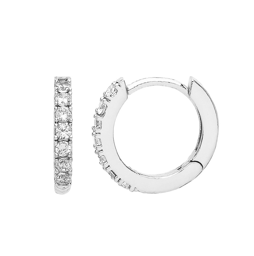 Estella Bartlett - Pave Hoop Earrings Silver Plated