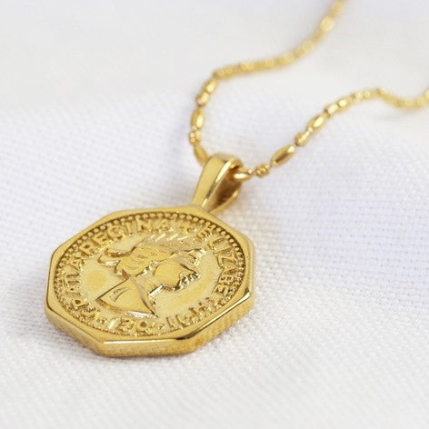 Gold Hexagon Coin Necklace