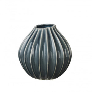 Broste -Grooved Vase - Medium - Blue Mirage